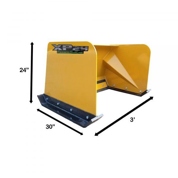 3' XP24 Snow Pusher Measurements