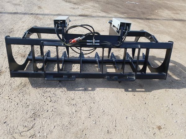 "72"" HD Two-Cylinder Brush Grapple and Pallet Fork Combo"