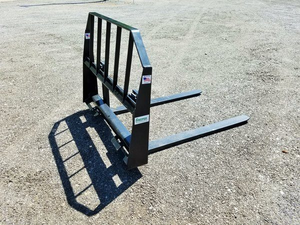 """78"""" HD Two-Cylinder Brush Grapple and Pallet Fork Combo"""