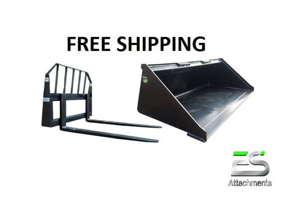 "66"" Smooth Bucket and 48"" Pallet Fork Combo - Free Shipping"