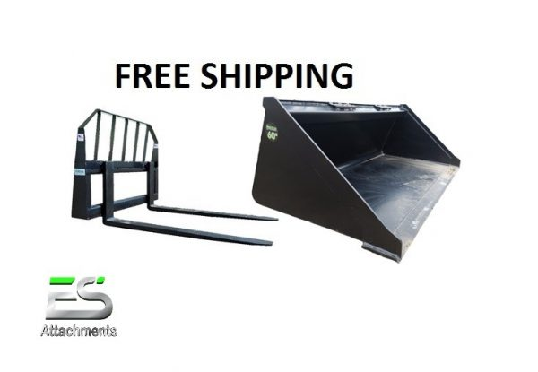 """60"""" Smooth Bucket and 48"""" Pallet Fork Combo - Free Shipping"""