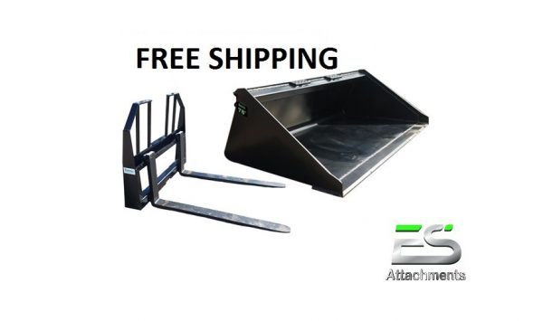 """78"""" Smooth Bucket and 48"""" Walk Through Pallet Fork Combo - Free Shipping"""