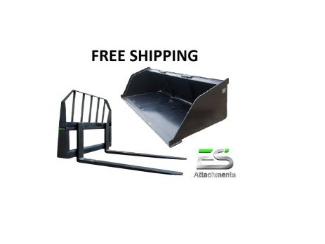 "84"" Mulch/Snow Bucket and 48"" Pallet Fork Combo - Free Shipping"