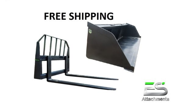 "6"" Mulch/Snow Bucket and 48"" Pallet Fork Combo - Free Shipping"